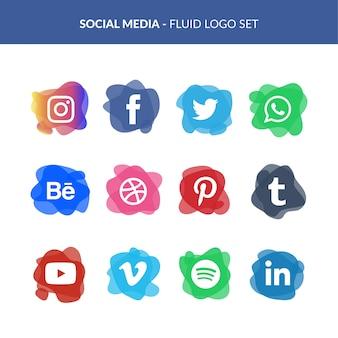 Logotipo de mídia social definido no estilo fluido