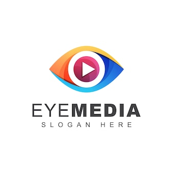 Logotipo de mídia visual de olho de cor, olhar tecnologia de mídia ou modelo de design de logotipo multimídia