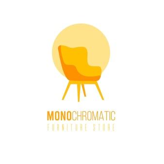 Logotipo de mobília monocromática com cadeira para loja