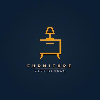 Logotipo de mobiliário elegante com lâmpada