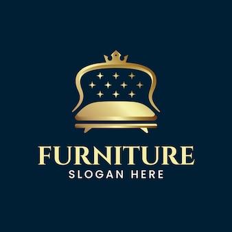 Logotipo de mobiliário elegante com sofá dourado