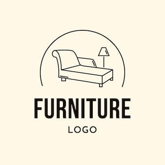 Logotipo de mobiliário minimalista com lâmpada