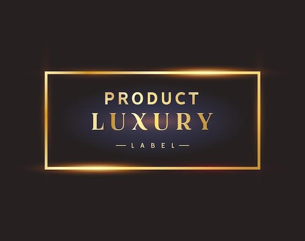 Logotipo de moldura dourada de rótulo preto de luxo. elemento de design premium.