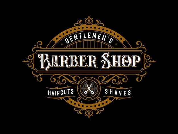 Logotipo de moldura ornamental de letras vintage de barbearia com enfeite de floreio