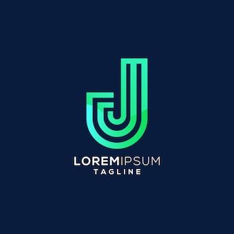 Logotipo de monograma inicial colorido letra j