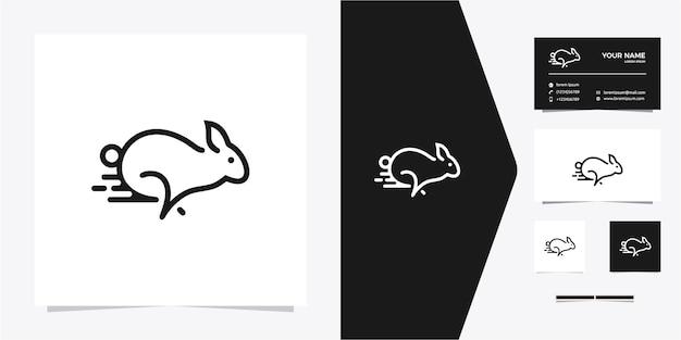 Logotipo de monoline de contorno de linha de execução de coelho