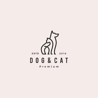 Logotipo de monoline do cão gato linha contorno