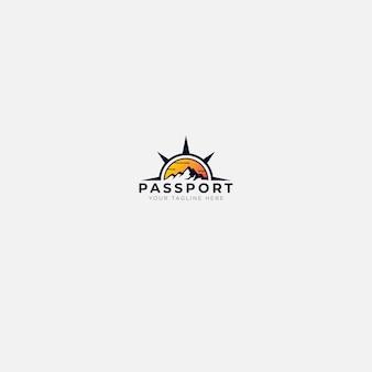 Logotipo de montanha ao ar livre do passaporte