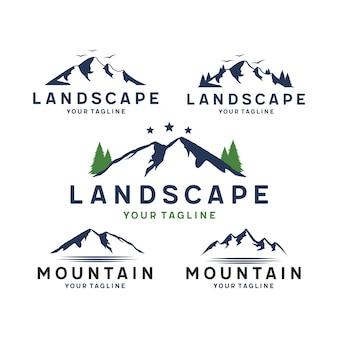 Logotipo de montanha e paisagem