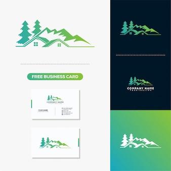 Logotipo de montanha em casa e modelo de vetor de cartão