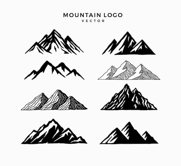Logotipo de montanhas definido como modelo de paisagem do pico da montanha