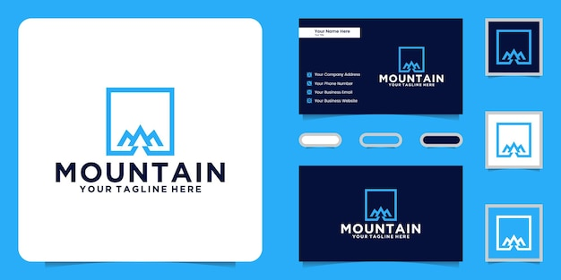 Logotipo de montanhas modernas com moldura quadrada e inspiração de cartão de visita