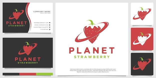 Logotipo de morango em forma de planeta