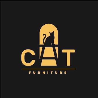 Logotipo de móveis com gato