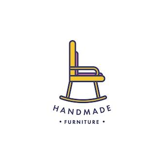 Logotipo de móveis de madeira linear.