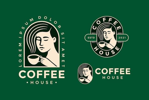 Logotipo de mulher bebendo uma xícara de café