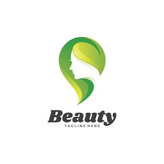 Logotipo de mulher beleza verde natureza