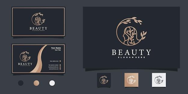 Logotipo de mulher bonita com combinação de folhas, rosto e cartão de visita premium vekto