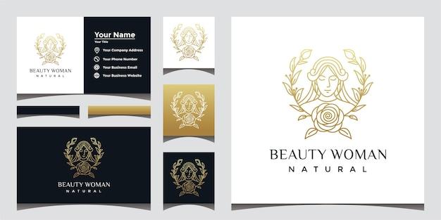Logotipo de mulher bonita natural com estilo de arte de linha de rosto bonito e design de cartão de visita.