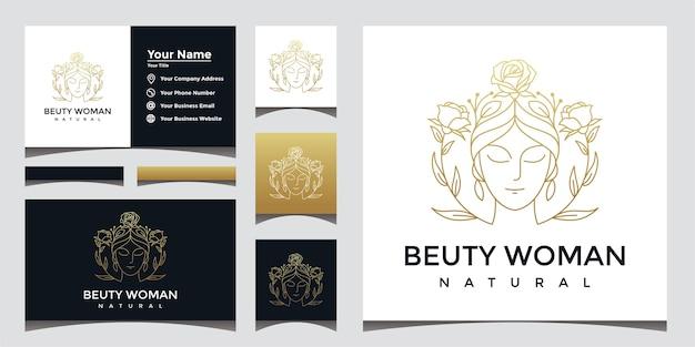 Logotipo de mulher bonita natural com estilo de arte de linha e design de cartão de visita.