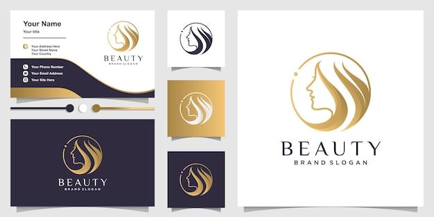 Logotipo de mulher com conceito de beleza e design de cartão de visita