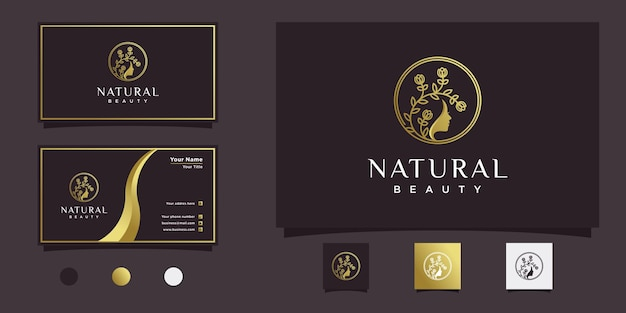 Logotipo de mulher com conceito de rosto de mulher bonita e forma de estilo de arte de linha floral e design de cartão de visita premium vector
