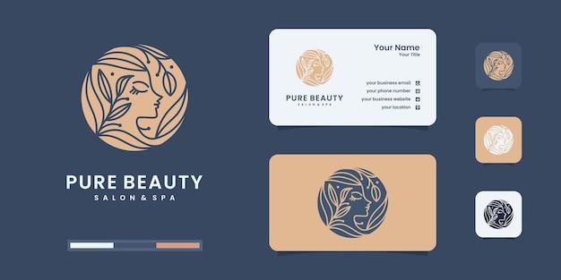 Logotipo de mulher com conceito gradiente de beleza e design de logotipo de negócios