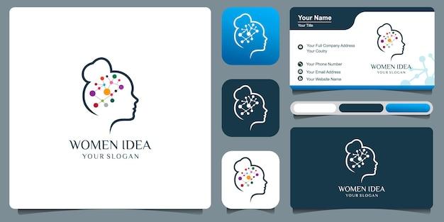 Logotipo de mulher com vetor premium de conceito de ideia criativa.