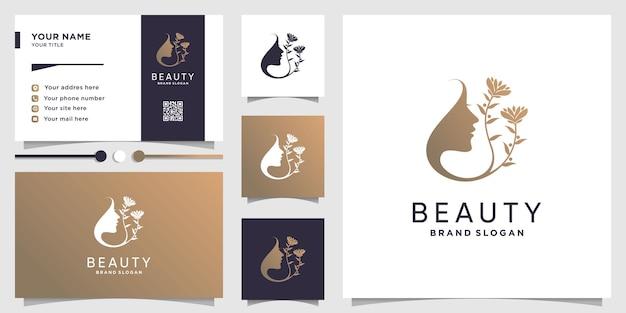 Logotipo de mulher de beleza com conceito de flor e cartão de visita