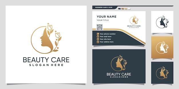 Logotipo de mulher de beleza com flor em estilo linear e design de cartão de visita premium vector
