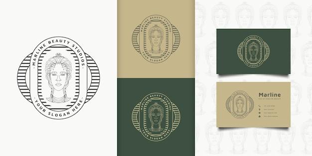 Logotipo de mulher de beleza com penteado elegante em conceito linear e estilo vintage para logotipos de moda, salão de beleza, cosméticos ou estúdio de beleza