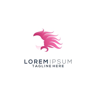 Logotipo de mulher de cabelo beleza
