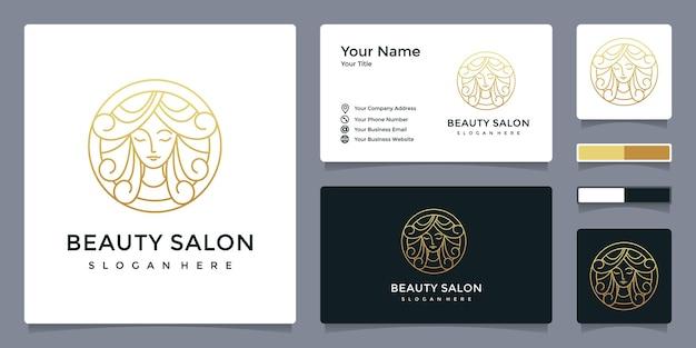 Logotipo de mulher de salão de beleza com modelo de cartão de visita