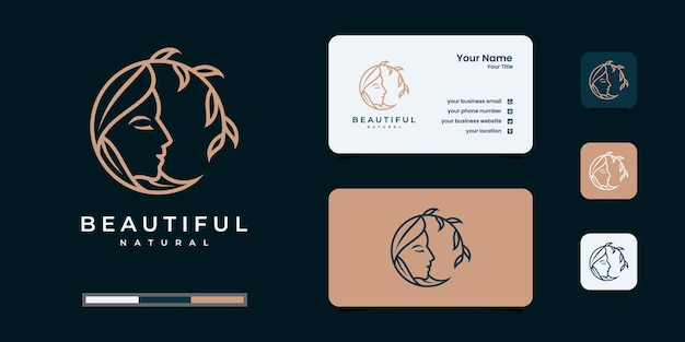 Logotipo de mulher feminina de beleza com cartão de visita de papelaria