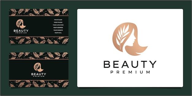 Logotipo de mulher feminina de beleza com cartão de visita