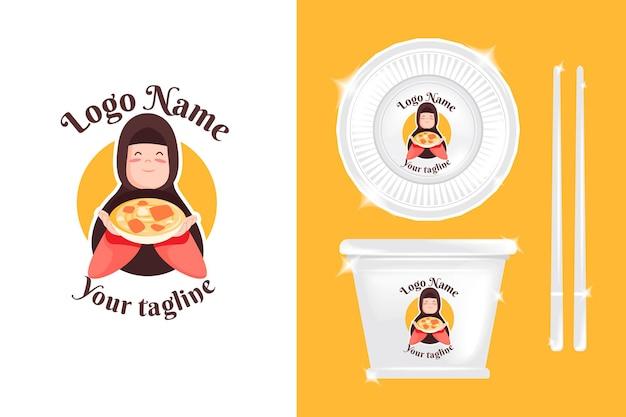 Logotipo de mulher fofa para negócios culinários