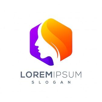 Logotipo de mulher hexágono pronto para uso