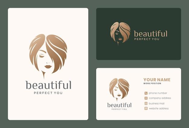 Logotipo de mulheres bonitas e cartão de visita para reforma, cabeleireiro, salão de beleza.