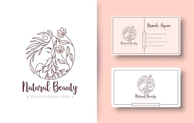 Logotipo de mulheres de beleza natural e design de cartão de visita