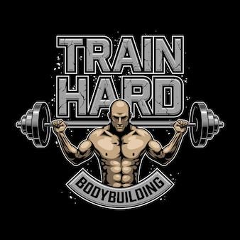 Logotipo de musculação vintage