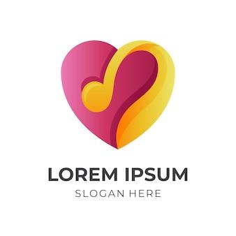 Logotipo de música de coração, música e coração, logotipo de combinação com estilo de cor vermelho e amarelo 3d