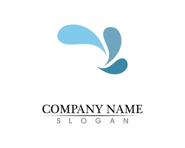 Logotipo de natureza da água e app de ícones de modelo de símbolos