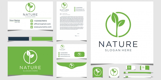 Logotipo de natureza folha com artigos de papelaria