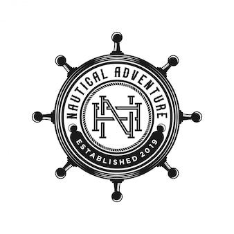 Logotipo de navio de volante vintage
