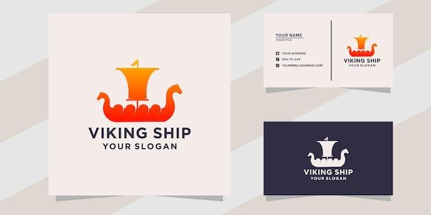 Logotipo de navio viquingue de luxo e modelo de cartão de visita