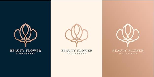 Logotipo de negócios de vetor dourado de beleza de flores com estilo de linha