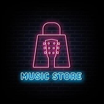 Logotipo de néon da loja de música símbolo de néon