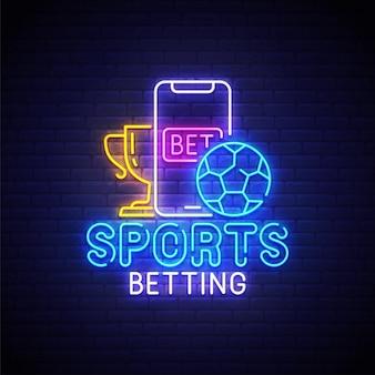 Logotipo de néon de apostas esportivas
