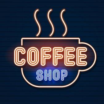 Logotipo de néon de cafeteria