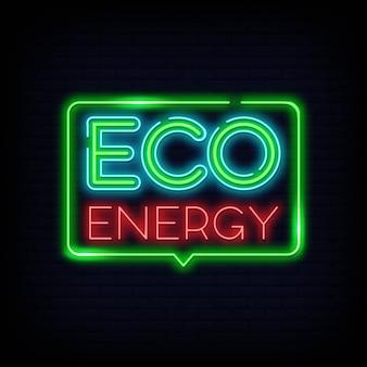 Logotipo de néon de energia eco. sinal de néon de energia verde
